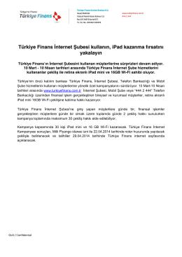 Türkiye Finans İnternet Şubesi kullanın, iPad kazanma fırsatını