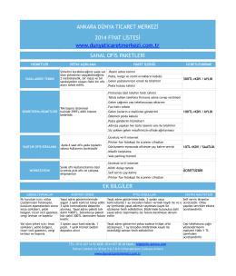 Fiyat Listesi - Ankara Dünya Ticaret Merkezi