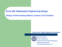 Inlet Pumping Stations, Screens, Grit Chambers
