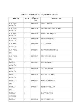 öğrenci temsilciliği seçimi aday listesi bölüm sınıf öğrenci no adı