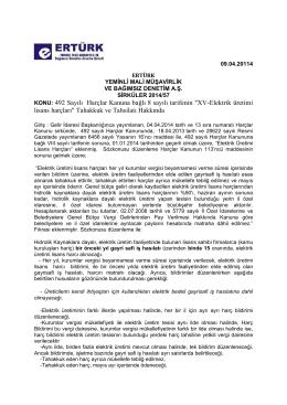 """KONU: 492 Sayılı Harçlar Kanuna bağlı 8 sayılı tarifenin """"XV"""