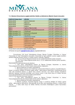 TC Mevlana Üniversitesine aşağıda belirtilen fakülte ve bölümlerine