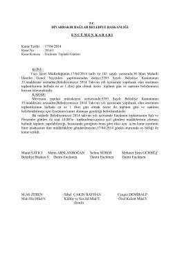 Karar Tarihi : 17/04/2014 KONU : Yazı ĠĢleri Müdürlüğünün,17/04