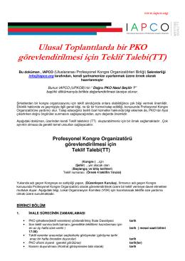 Ulusal ToplantÙlarda bir PKO görevlendirilmesi için Teklif Talebi(TT)