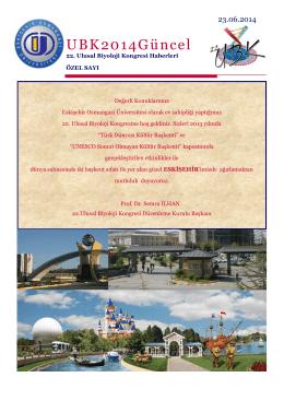 UBK2014Güncel - 22.Ulusal Biyoloji Kongresi