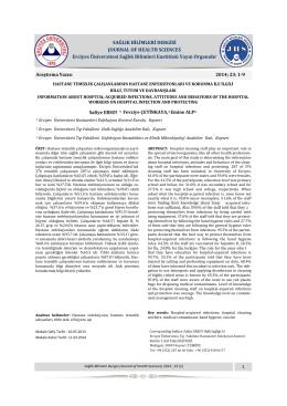Hastane Temizlik Çalışanlarının Hastane Enfeksiyonları ve Korunma