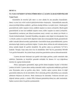 DENEY 6 ÜÇ FAZLI SENKRON GENERATÖRDE BOŞTA ÇALIŞMA