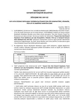 ihaleye davet kayseri büyükşehir belediyesi sözleşme no: kay-g2
