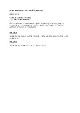 DERS: AKIŞKANLAR MEKANİĞİ (AKM 205) ÖDEV NO: 2 VERİLİŞ