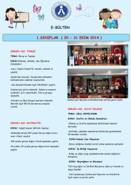 E-BÜLTEN 1.SINIFLAR ( 20 - 31 EKİM 2014 )