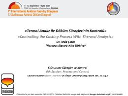 Dr. Arda Çetin (Heraeus Electro-Nite Türkiye)