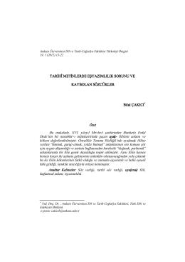 PDF - Ankara Üniversitesi Dergiler Veritabanı