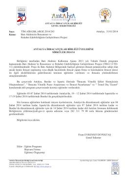 Sayı: TİM.AİB.GSK.ARGE.2014/243 Antalya, 31/01/2014 Konu: Batı