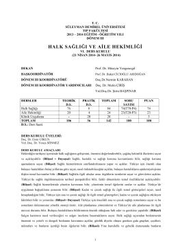 Altıncı Kurul - Tıp Fakültesi - Süleyman Demirel Üniversitesi