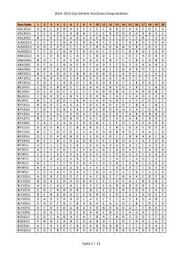 2014 -‐2015 Güz Dönemi Ara Sınavı Cevap Anahtarı Sayfa 1 / 13