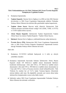 EK-2 Türk Telekomünikasyon AŞ (Türk Telekom) SSG Fırsat