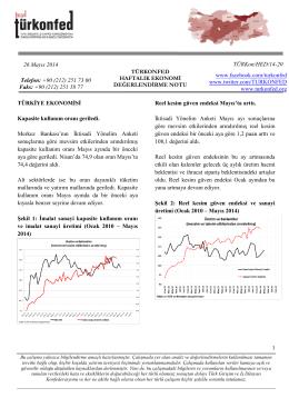 Haftalık Ekonomi Değerlendirme Raporu – 27.05.2014