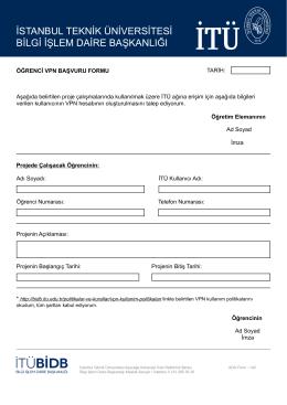 öğrenci vpn başvuru formu - İTÜ Bilgi İşlem Daire Başkanlığı