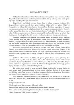 KONTROLÖR VE ÇOBAN Türkiye Tarım Kredi Kooperatifleri Merkez