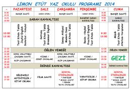 2014 yaz okulu programımız