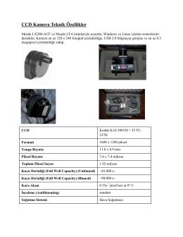 CCD Kamera Teknik Özellikler