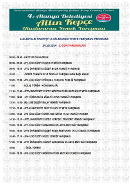 4.alanya altınkepçe uluslararası yemek yarışması programı