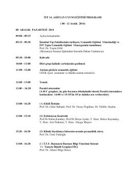 Asistan Uyum Kursu 08-12 Aralık 2014 Programı