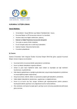 kurumsal iletişim uzmanı - İstanbul Üniversitesi Vakfı Adıgüzel Okulları
