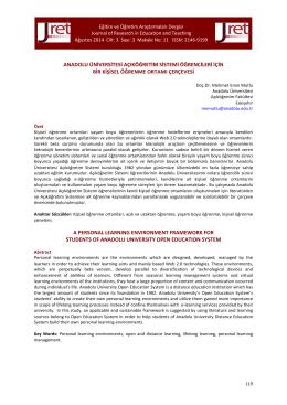 anadolu üniversitesi açıköğretim sistemi öğrencileri için bir kişisel