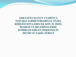 6360 PERSONELİN NAKİL VE DEVİR SüRECİ REHBERİ
