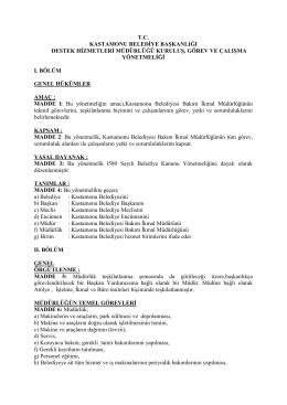 tc kastamonu belediye başkanlığı destek hizmetleri müdürlüğü