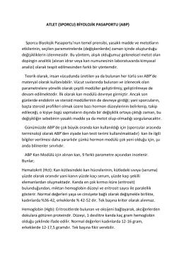 ATLET (SPORCU) BİYOLOJİK PASAPORTU (ABP