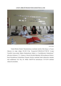 AB Projesi Sözleşmesi İmzalandı