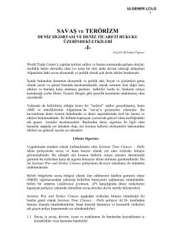 16.Savaş Ve Terörizm Deniz Sigortası Ve Deniz Ticareti Hukuku