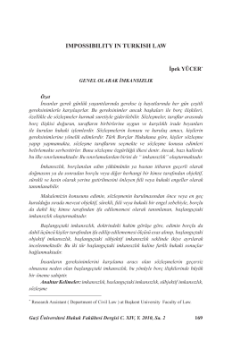 IMPOSSIBILITY IN TURKISH LAW