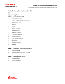 Toshiba Tec Group Davranış Standartları (DS)