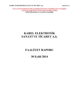 Q3/2014 Faaliyet Raporu