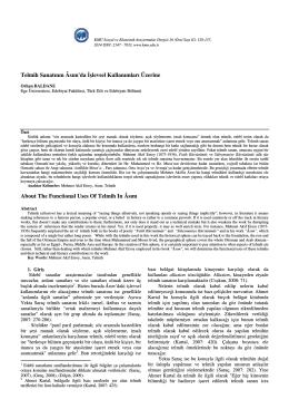 Orhan BALDANE - KMÜ Sosyal ve Ekonomik Araştırmalar Dergisi