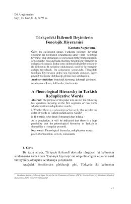 Türkçedeki İkilemeli Deyimlerin Fonolojik Hiyerarşisi