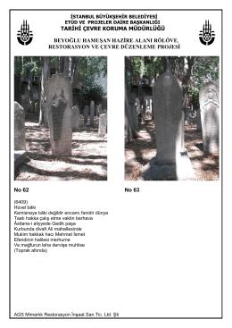 Galata Mevlevihanesi Müzesi Haziresinde Bulunan Mezar Taşları