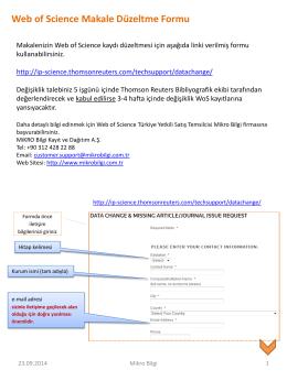 Web of Science Makale Düzeltme Formu