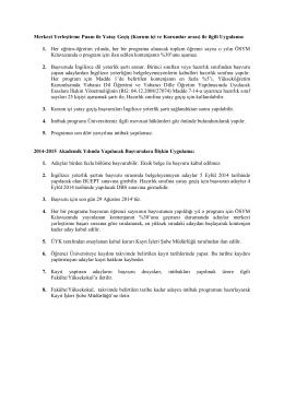 BÜ Senatosu tarafından kabul edilen uygulama esasları