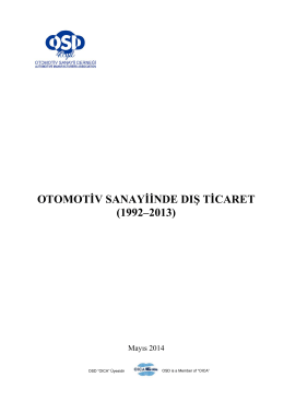 Otomotiv Sanayii Dış Ticaret Raporu (1992-2013)