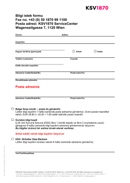 Bilgi istek formu Fax no. +43 (0) 50 1870 99 1100 Posta