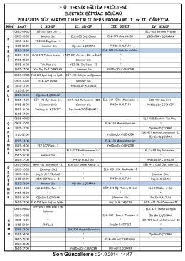 2014-2015 guz yarıyılı-haftalık ders programı