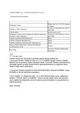 24.06.2014 Yatırımcı İliskileri Bölümü Kurulması