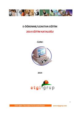 E-ÖĞRENME/UZAKTAN EĞİTİM 2014 EĞİTİM