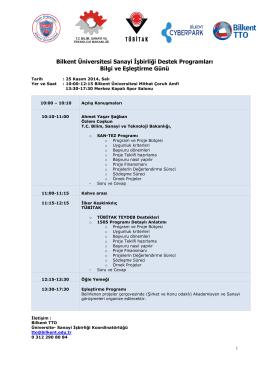 Bilkent Üniversitesi Sanayi İşbirliği Destek Programları Bilgi ve