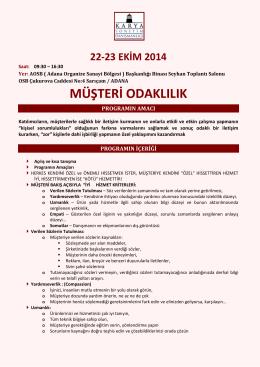 Müşteri Odaklılık Eğitimi - Adana Organize Sanayi Bölgesi