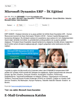 Microsoft Dynamics ERP – İK Eğitimi E-Mail Grubumuza Katılın